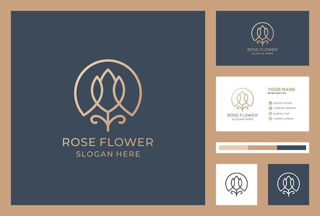 名刺テンプレートと花のロゴデザイン。化粧品店のアイコン。ビューティーサロンのロゴのインスピレーション。 Premiumベクター