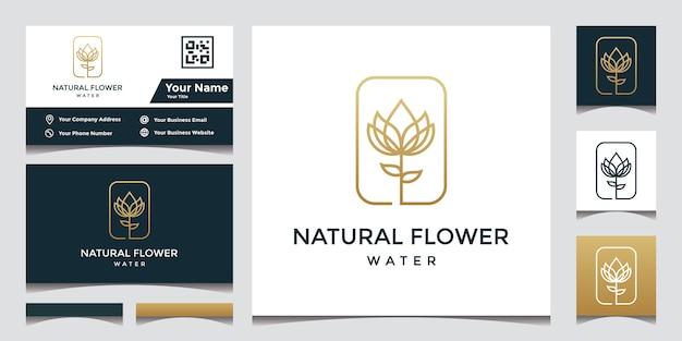 エレガントな名刺と花のロゴのデザイン Premiumベクター