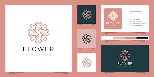 ラインアートスタイルの花のロゴデザイン。スパ、ビューティーサロン、デコレーション、ブティックに使用できます。 Premiumベクター