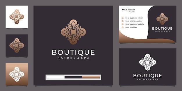 ラインアートスタイルの花のロゴデザイン。ロゴは、スパ、美容院、装飾、ブティックに使用できます。と名刺 Premiumベクター