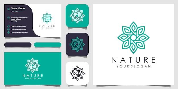 ラインアートスタイルで花のロゴデザイン。ロゴはスパ、ビューティーサロン、装飾、ブティックに使用できます。と名刺 Premiumベクター