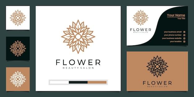 ラインアートスタイルの花のロゴデザイン。ロゴは、スパ、美容院、装飾、ブティックに使用できます。 Premiumベクター