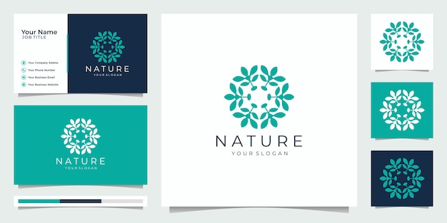 Flower logo design with line art style. logos can be used for spa, beauty salon, decoration, boutique. and business card. Premium Vector
