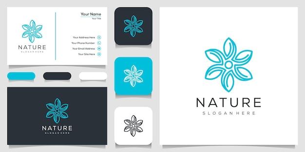 ラインアートスタイルの花のロゴデザイン。 Premiumベクター