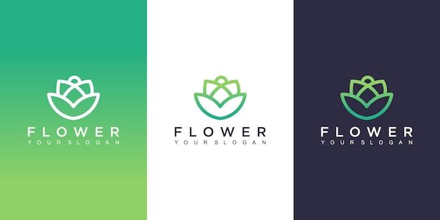 花のロゴデザイン Premiumベクター