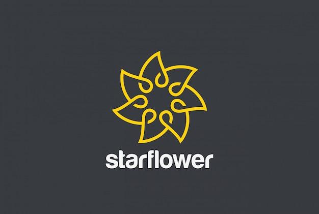 Flower logo. linear style Free Vector