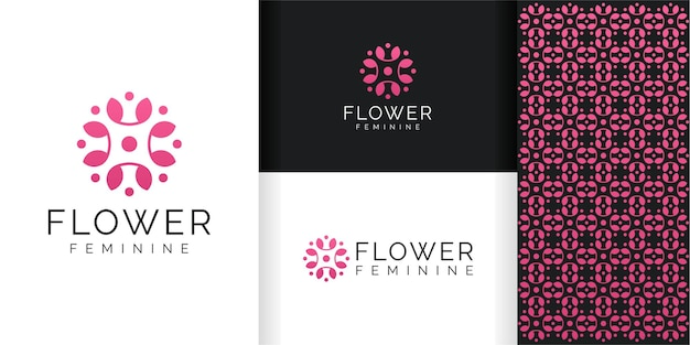 Flower logo and pattern template Premium Vector