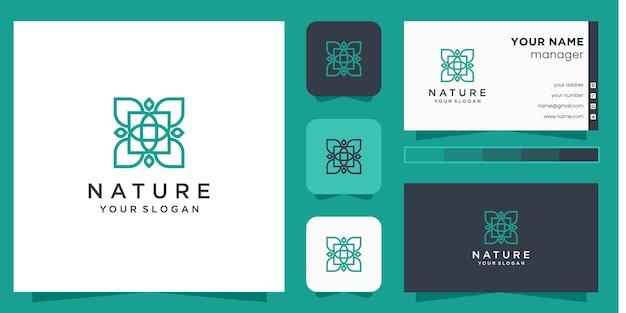 ラインアートスタイルと名刺と花のロゴ Premiumベクター