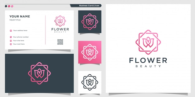 Flower logo with modern beauty concept and business card design template Premium Vector