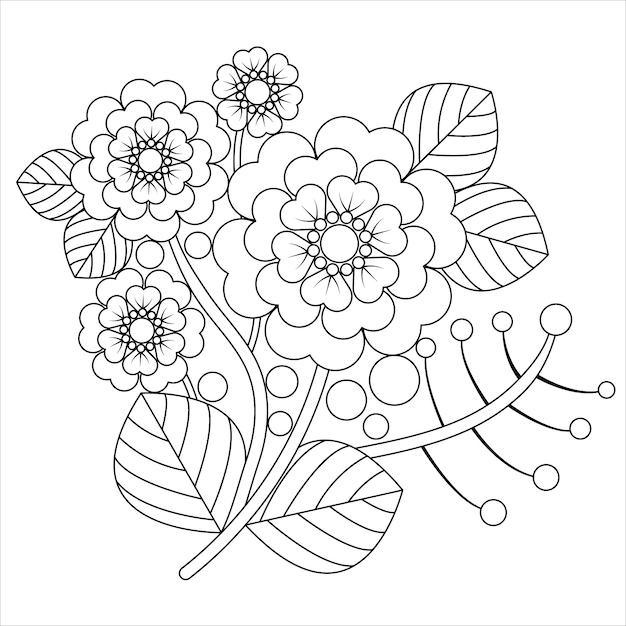 塗り絵をリラックスした大人のための花flower羅。 Premiumベクター