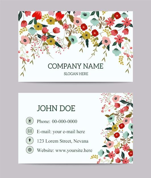 flower nature business card template  premium vector