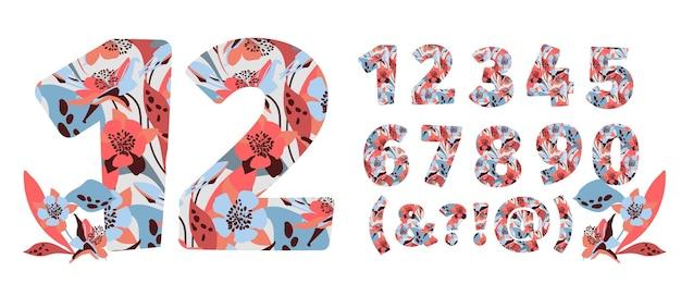 花の数は0から9に設定されています Premiumベクター