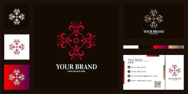 名刺と花や飾りの豪華なロゴのテンプレートデザイン。 Premiumベクター