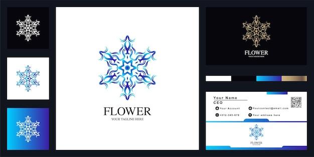 명함으로 꽃 또는 장식 럭셔리 로고 템플릿 디자인. 프리미엄 벡터