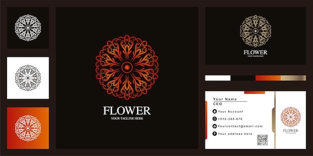 비즈니스 카드와 꽃 또는 장식 럭셔리 로고 템플릿 디자인. 프리미엄 벡터