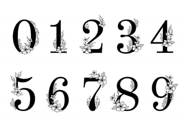 Flower ornate numbers. elegant blossom number, floral sprigs date and numeric monogram illustration set Premium Vector