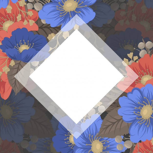 Flower page boarders - blue and red flowers Free Vector