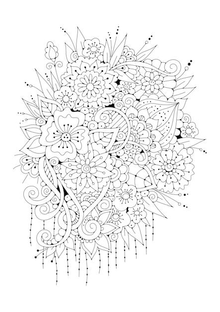 花のページの塗り絵。黒と白のイラスト。 Premiumベクター