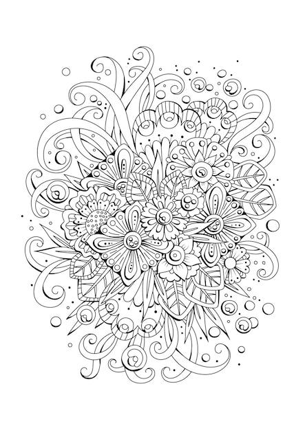 着色のための花のページ。黒白の背景。 Premiumベクター
