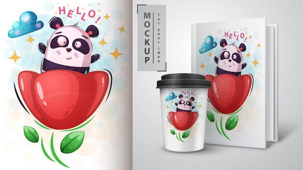 Flower and panda poster and merchandising Premium Vector