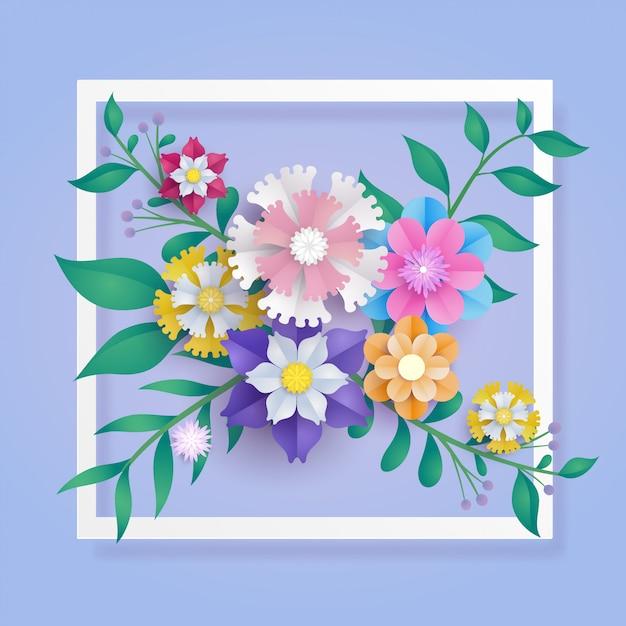Flower paper cut composition Premium Vector
