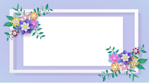 Flower paper cut frame Premium Vector
