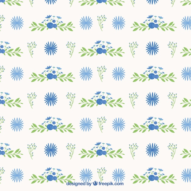 Flower pattern and hand drawn leaves Free Vector
