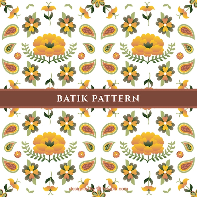 Flower Pattern Batik With Flowers Vector