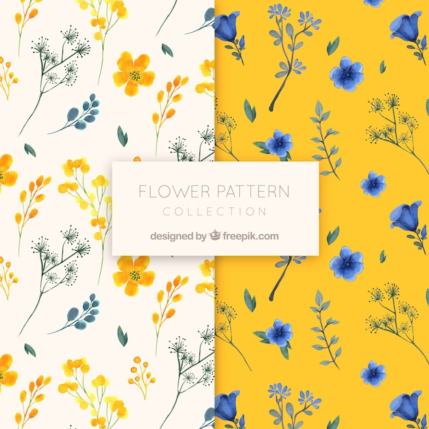 Flower pattern collection in watercolor style Free Vector