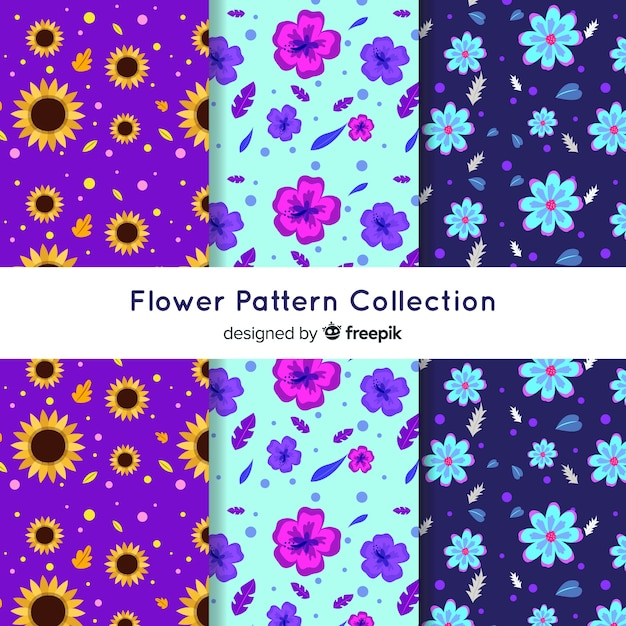 Flower pattern collection Free Vector