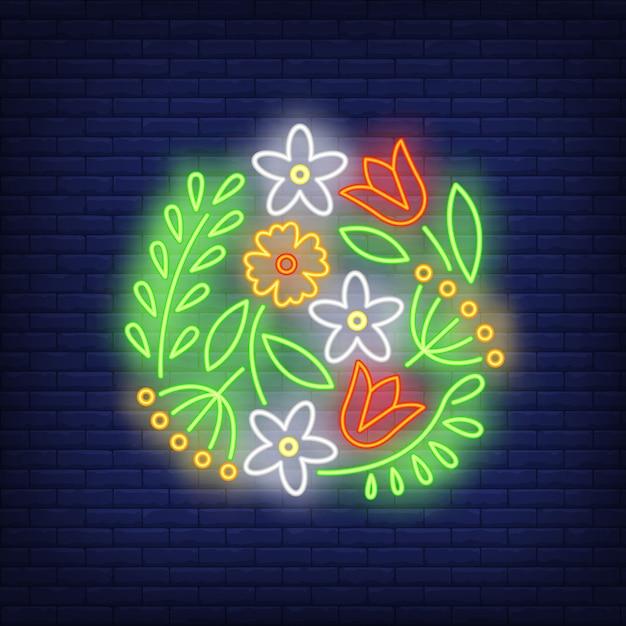 Flower pattern emblem neon sign Free Vector