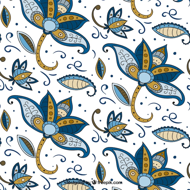 Flower Pattern Hand Drawn In Batik Style Vector