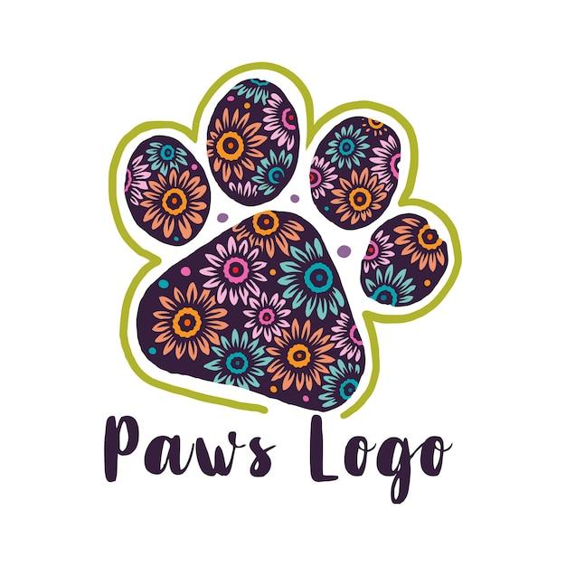 Flower pattern paws logo Premium Vector
