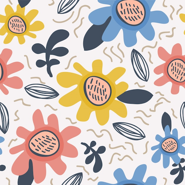 Flower pattern scandinavian Premium Vector