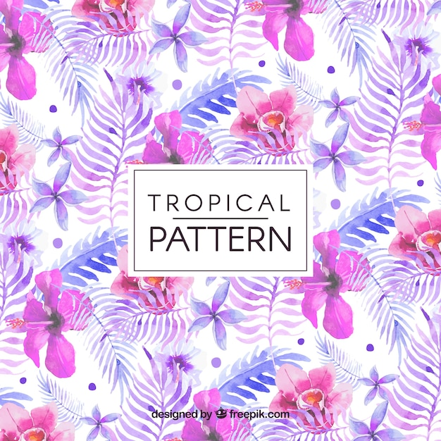 Flower pattern and tropical watercolor leaves Free Vector