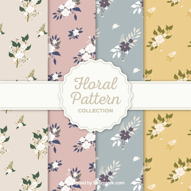 Flower patterns collection in flat style