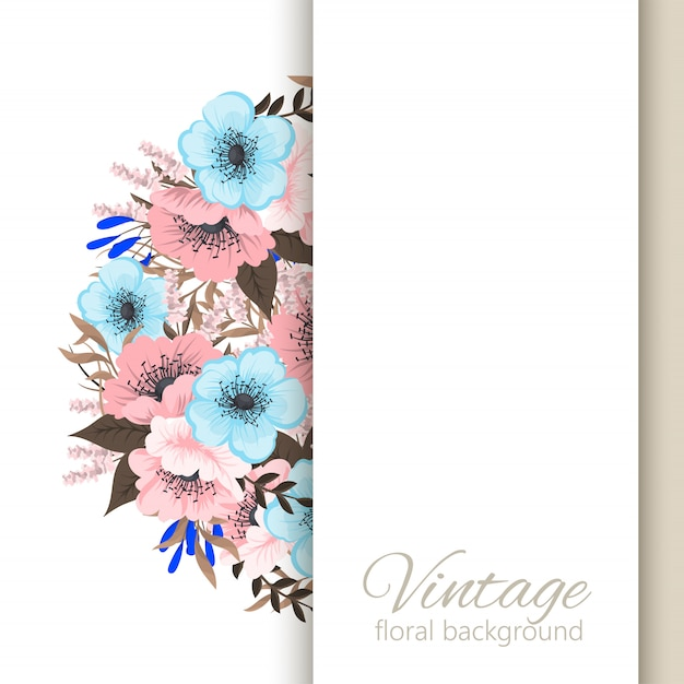 Flower picture frame  light blue and pink flowers Free Vector