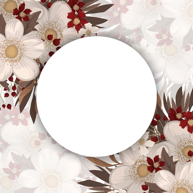 Flower picture frame - white circle frame with red flowers Premium Vector