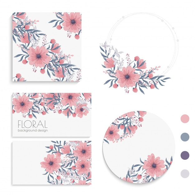 Flower  pink flowers cards, , wreath Premium Vector