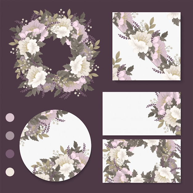 Flower  pink flowers cards, , wreath Free Vector