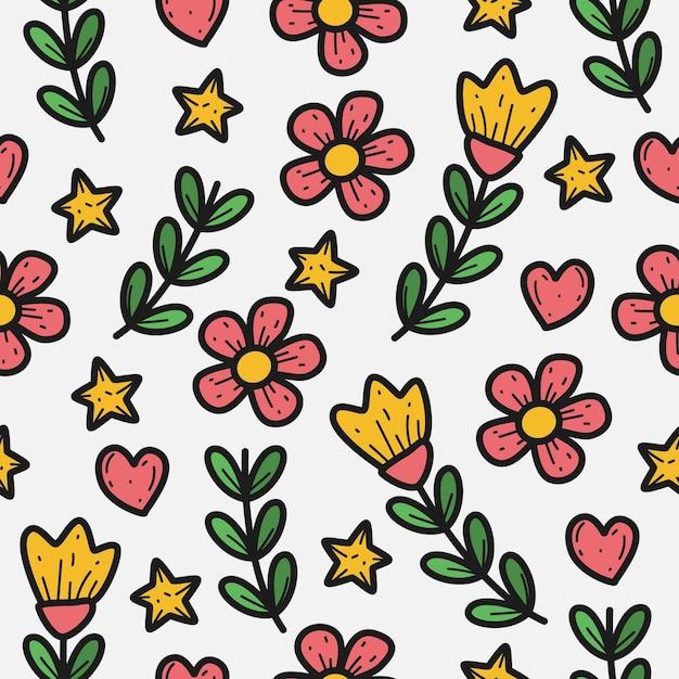花植物パターンテンプレート Premiumベクター