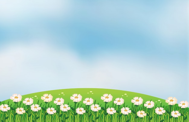 A flower plantation at the top of the hills Free Vector