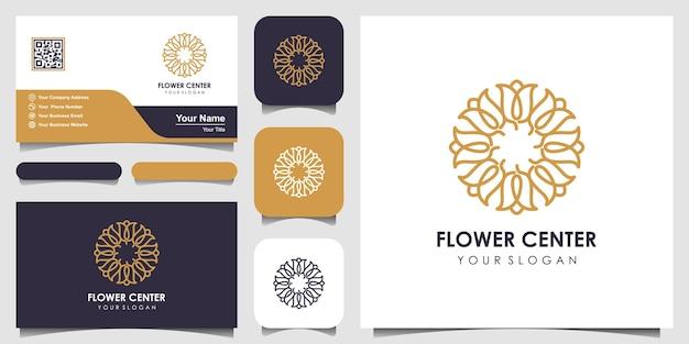 丸いスタイルのフラワーローズの美しさ。ロゴと名刺デザインのセット Premiumベクター