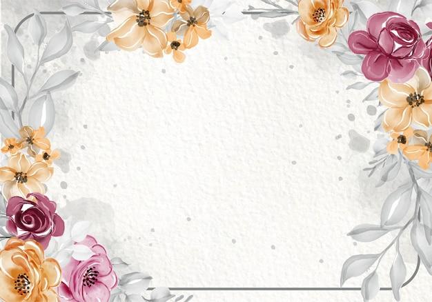 Цветок роза розовый оранжевый акварель рамка Бесплатные векторы
