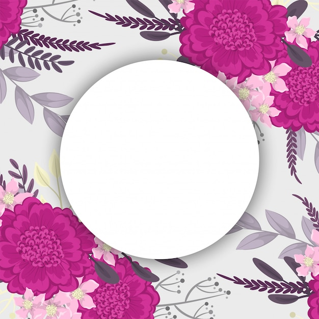 Flower round drawing  hot pink flowers Premium Vector