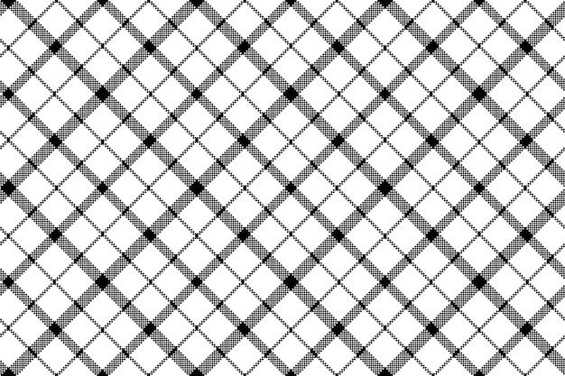 Flower of scotland tartan black white pixel seamless pattern Premium Vector