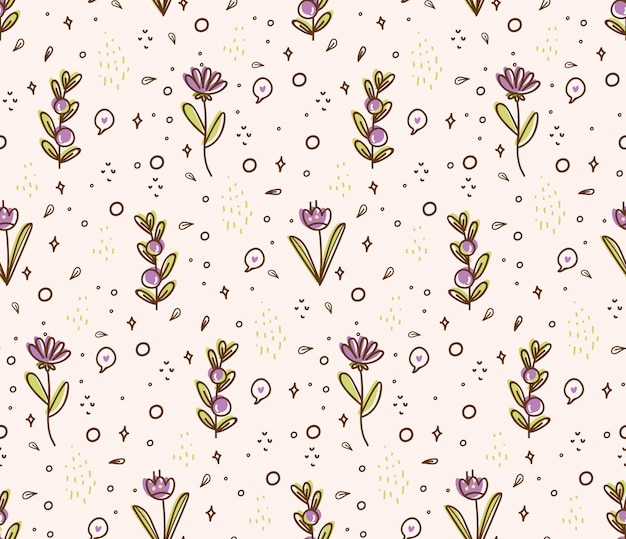 Flower seamless pattern in doodle style illustration Premium Vector