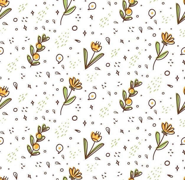 Flower seamless pattern in kawaii doodle style Premium Vector