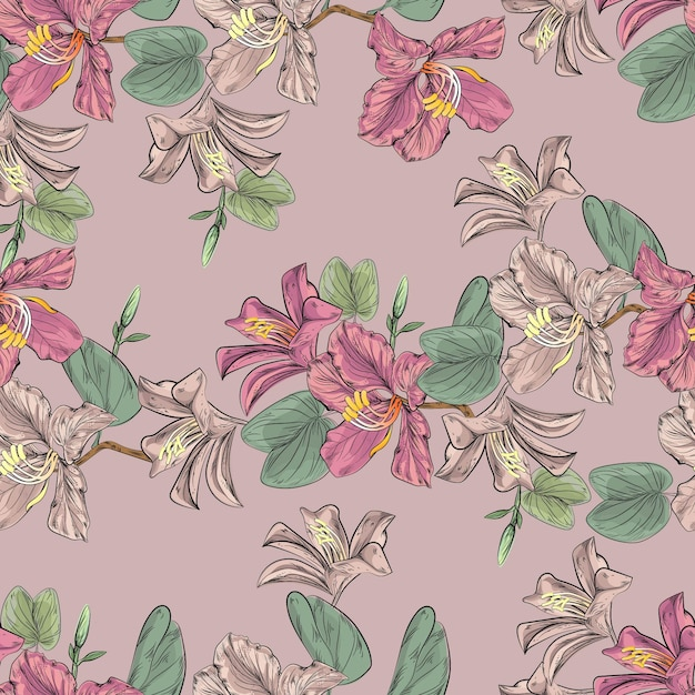 Flower seamless pattern with bauhinia and hibiscus Premium Vector