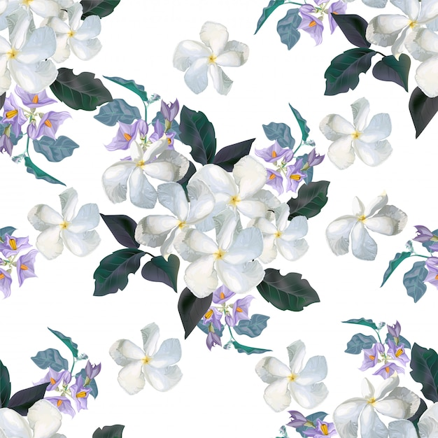 Flower seamless pattern with flower Premium Vector